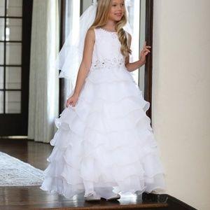 Angels Girls White Ruffled A-Line Dress